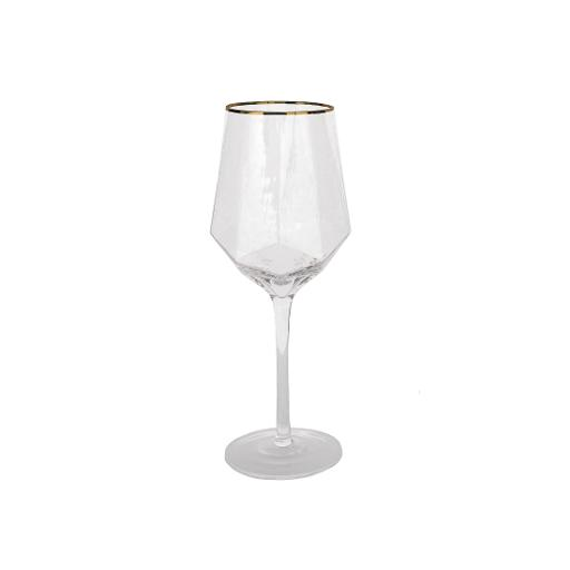 Gold Rim Gem Wine Glass