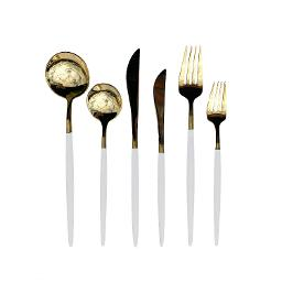 Lisbon Gold White Handle 6 Piece Flatware Set