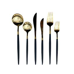 Lisbon Gold Black Handle 6 Piece Flatware Set