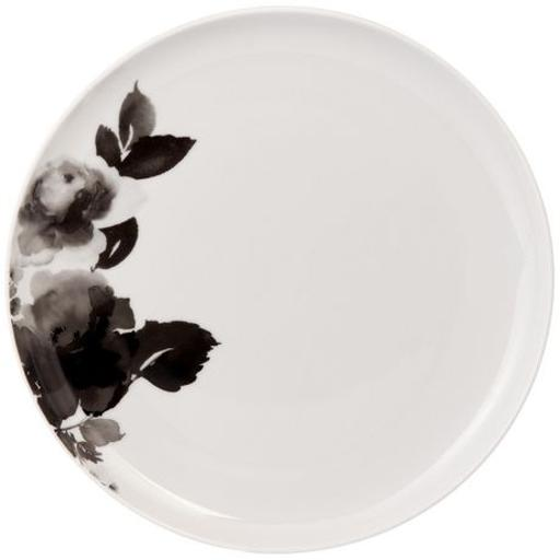 "Porcelain Rose 10.5"" Plate - Black"
