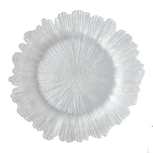Sunburst Pearl Glass Charger Plate