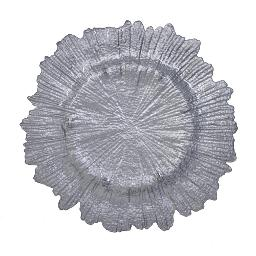 Sunburst Silver Glass Charger Plate