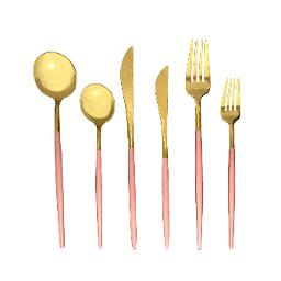 Lisbon Gold Pink Handle 6 Piece Flatware Set