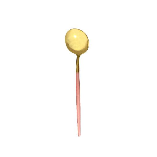 Lisbon Gold Pink Handle Large Spoon