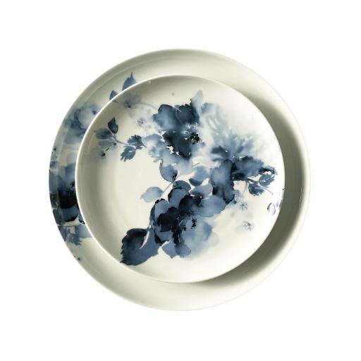 Blue Porcelain Rose Dinnerware Set