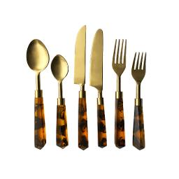 London Gold Tortoise Shell Handle 6 Piece Flatware Set